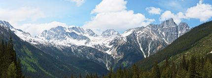 山岩石谷和脚的具球果森林风景全景与多雪的山峰的在夏天, 库存照片