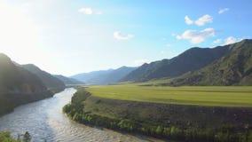 山峡谷和绿色高原的看法 大横向山山 影视素材