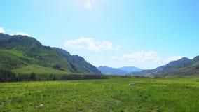 山峡谷和绿色高原的看法 大横向山山 股票视频