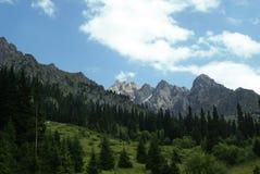 山峡谷在Chimbulak附近的夏天 库存图片