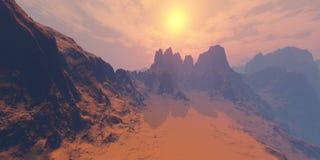山峰在阳光下 库存照片