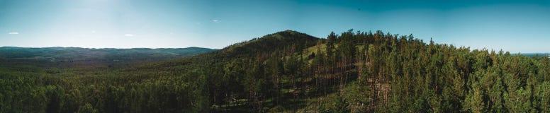 山峰空中寄生虫视图与森林在上面,Russi的 免版税图库摄影