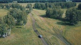 山峰空中寄生虫视图与森林在上面,Russi的 股票视频