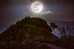 山峰风景 在小山的充分上面的走道和 免版税图库摄影