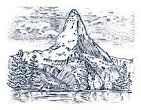 山峰,葡萄酒马塔角,老看起来手拉,速写或刻记了样式,远足的不同的版本 库存例证