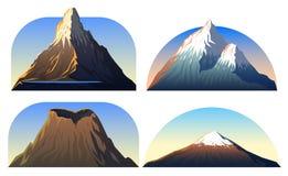 山峰,风景及早在一白天,大集合 马塔角、富士或者维苏威,恶魔耸立,珠穆琅玛旅行或 向量例证