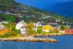 山挪威村庄 库存照片
