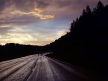 黑山摩托车骑士乘坐在日落在湿路 库存图片
