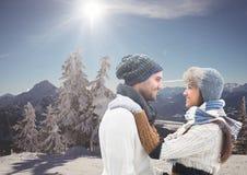 山旅行,在snoe的w夫妇 库存图片