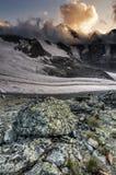 山日落,阿尔卑斯 库存图片