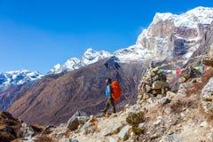 山景城和尼泊尔山引导停留在小径 免版税库存照片