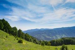 山景 蓝色覆盖天空 在晴朗的绿草领域 库存图片