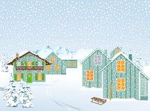 山村在冬天 库存照片