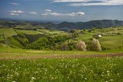 山村在小山、开花的树和plowin驱散了 库存图片