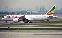 山林羚从埃塞俄比亚航空的波音787 Dreamliner (和) 图库摄影