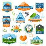 登山标签和商标 免版税库存照片