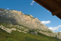 山森林在一晴朗的多云天 免版税库存照片