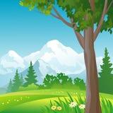 山森林正方形背景 库存照片