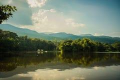 山森林的脚的美丽的湖 免版税图库摄影