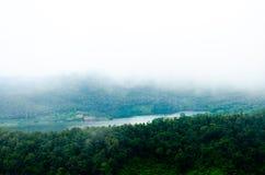 山森林风景视图有雾的 库存照片