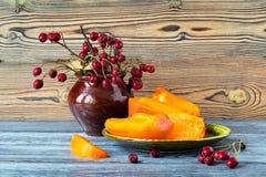 山楂树的一个成熟橙色柿子和莓果的段 图库摄影