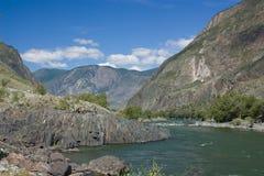 山横向。 冰川。 山Altai。 免版税库存图片