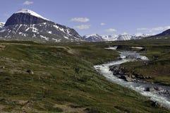 山横向在Sarek国家公园 免版税库存照片
