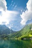 山横向的湖 免版税库存照片