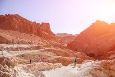 山沙漠在一个明亮的晴天 库存图片
