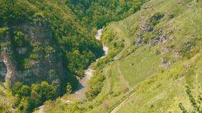 山河流动入亚美尼亚的山的峡谷峡谷 股票录像