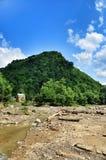 山河的被弄脏的河岸 免版税库存图片