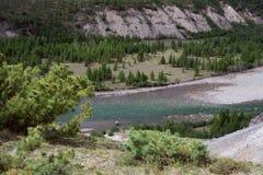 山河的顶视图 免版税库存照片