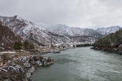 山河第一个雪冬天 库存照片