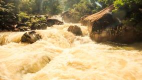 山河风雨如磐的小河在岩石绿色倾斜中的 股票视频