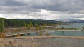 山湖全景风景  股票视频
