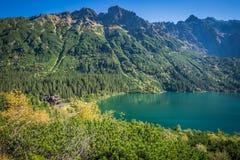 山湖在扎科帕内, Tatra Moun附近的Morskie Oko风景  免版税图库摄影