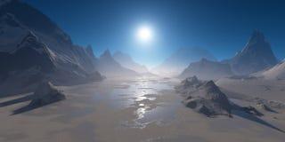 冻山湖在阳光下 免版税库存图片