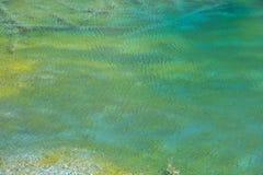 山湖的五颜六色的清楚的水纹理波纹表面 库存照片