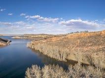 山湖Aeiral风景  免版税库存图片