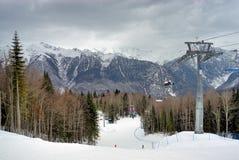 山滑雪倾斜 库存图片
