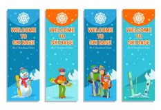 山滑雪者冬季体育飞行物设计模板 免版税库存照片