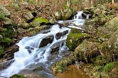 山瀑布在捷克 免版税库存图片