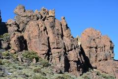 山熔岩火山峭壁晃动柏拉图,在山的日出,山风景,风景,泰德峰 免版税库存照片