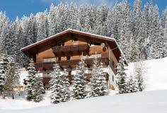 山瑞士山中的牧人小屋,奥地利 图库摄影