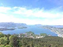 山的上面在挪威 免版税图库摄影