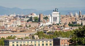 从山的全景在广场的Venezia意大利罗马 图库摄影