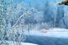 山的冬天河 免版税库存图片