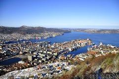 从山的卑尔根,挪威 库存照片