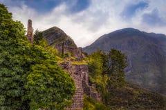 山的古老堡垒 库存图片