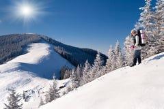 山的愉快的女孩在冬天 免版税库存照片